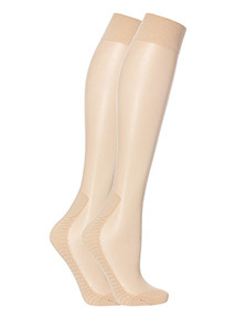 Nude Knee High Cushionsole Tights 2 Pack