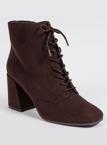 Brown Ankle Heeled Boots