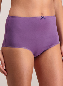 Purple & Cream Floral Print Full Knickers 5 Pack