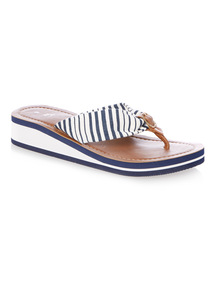 Navy Stripe Wedge Flip Flops