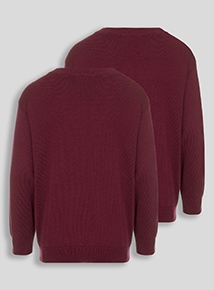 Dark Red V-Neck Jumpers 2 Pack (3-12 years)