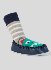 Blue Moccasin Dinosaur Slipper Socks (3 - 24 months)