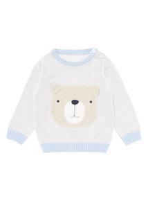 Boys Blue Bear Face Jumper (0-24 months)