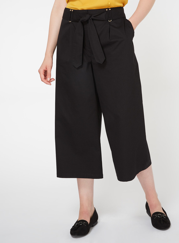 Black Wide Leg Cropped Trousers