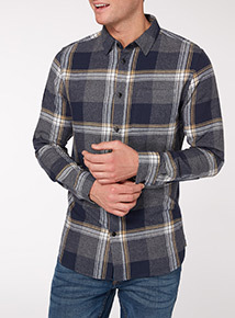 Navy Ochre Check Shirt