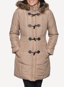 DAVID BARRY Taupe 7/8 Padded Parka Coat