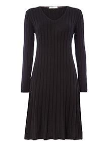 Black Ribbed Swing Dress