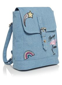Denim Badge Backpack
