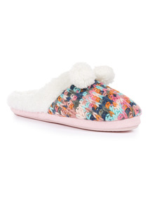 Multicoloured Yarn Knitted Mule with Pom