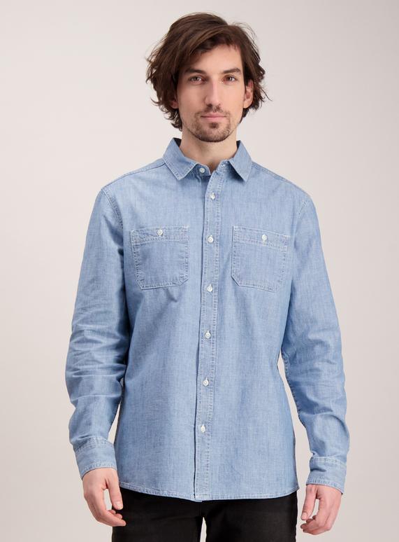 6172291852 Menswear Blue Regular Fit Chambray Denim Shirt