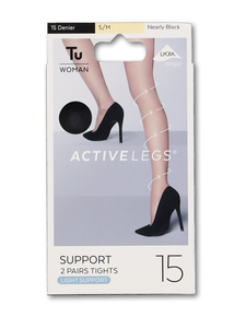 Nearly Black Support Tights 2 Pack