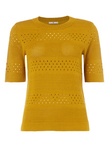 Lime Pointelle Knitted Tee