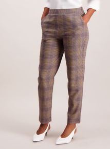 Pink Check Tapered Leg Trousers