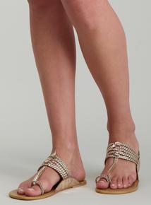 78b209408da Online Exclusive Gold Plaited Toe Post Sandal