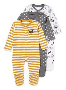 3 Pack Grey Super Hero Sleepsuits (Newborn-24 months)