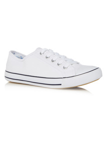 White Canvas Lace Up Shoes