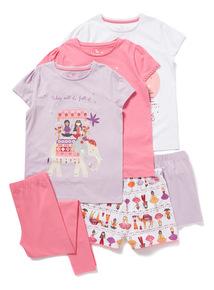 3 Pack Pink Full Of Wonder Pyjamas (2-14 years)