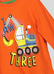 I Am Three Printed Long Sleeve T-Shirt (2-4 Years)