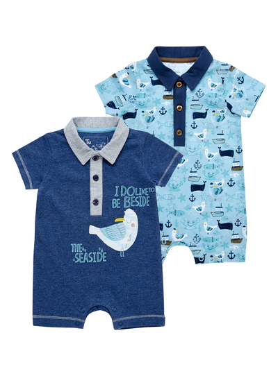 49424df6e Baby Boys Blue Seaside Romper Suits 2 Pack (0-24 months)
