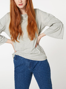 Grey Tiered Frill Sleeve Top