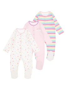 Girls Pink Rainbow Sleepsuits 3 Pack (0-24 months)