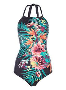 Floral Secret Shaping Halter Neck Swimsuit