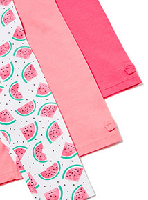 3 Pack Pink Watermelon Leggings (0-24 months)