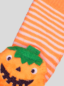 Halloween Orange & White Pumpkin Rattle Slipper Socks (Newborn - 24 Months)