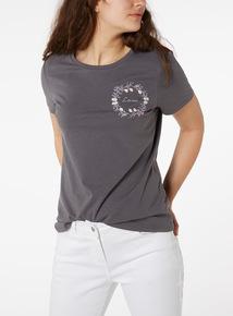 Online Exclusive Grey 'Love' Graphic Slogan T-Shirt