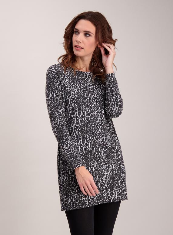 eb10cdcd33 Womens Monochrome Leopard Print Tunic