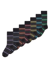 Multicoloured Stripe Stay Fresh Socks 7 Pack