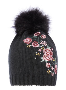 Embroidered Pom Hat