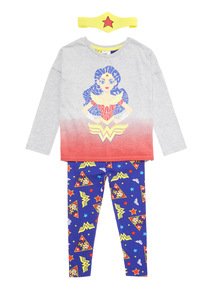 Navy Wonder Woman Pyjama Set with Headband (2-12 years)