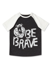 Grey 'Be Brave' Print T-shirt (9 months-6 years)