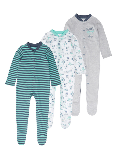 c3b8383a2 Baby Boys Green Patterned Sleepsuits 3 Pack (0-24 months)
