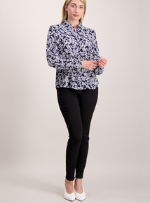 Navy Floral Printed Blouse