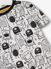 Black & White Monster Print T-Shirt (9 months-6 years)