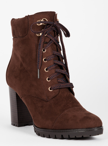 Brown Heeled Lace Up Ankle Boots