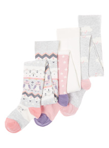 Grey Three Pack Snowy Owl Tights (18 months-10 years)
