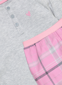 Grey And Pink Heart Logo Pyjamas (4-14 years)
