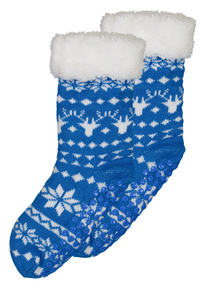 Christmas Blue Slipper Socks (9 infant - 6.5 adult)