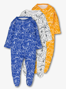 Multicoloured Dino Print Sleepsuits 3 Pack (Newborn - 24 months)