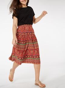 Boho Print Midi Skirt