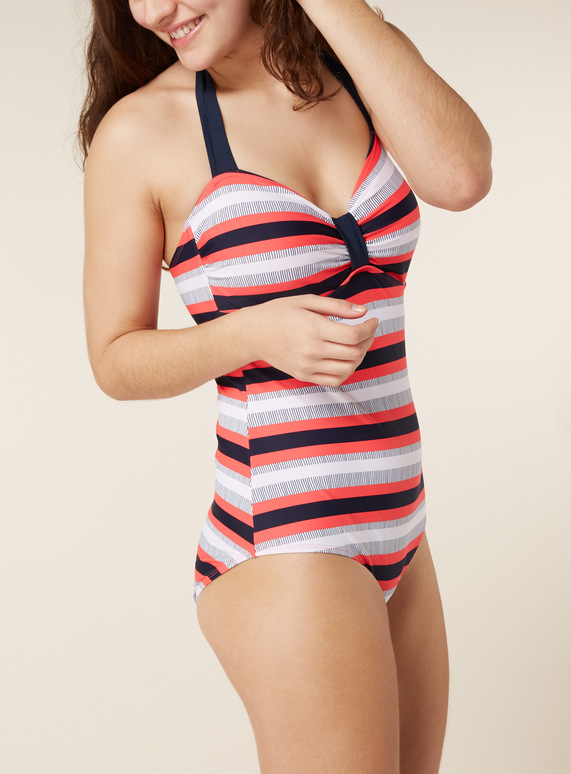 Stripe Bandeau Tummy Control Swimsuit