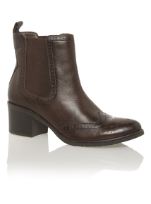Brown Leather Ankle Length Boots