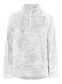 White and Navy Honeycomb Fleece