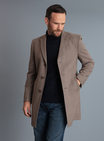 Slim Fit Stone Overcoat
