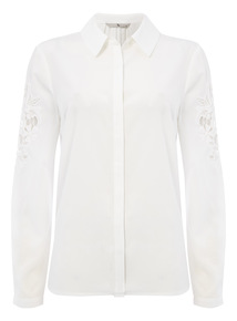 Cream Applique Detail Shirt