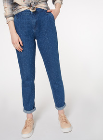 Denim Jacquard Girlfriend Jeans