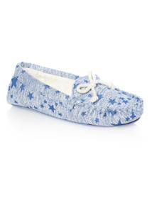 Blue Star Moccasin Slippers